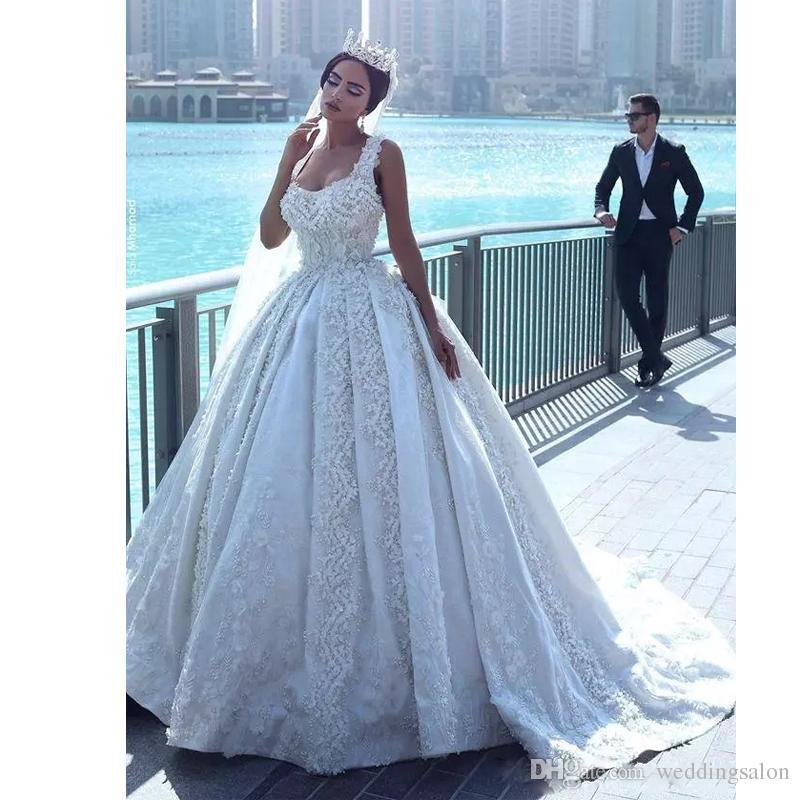 Gorgeous Beads Ball Gown Abric Dubai Wedding Dresses Square Neck