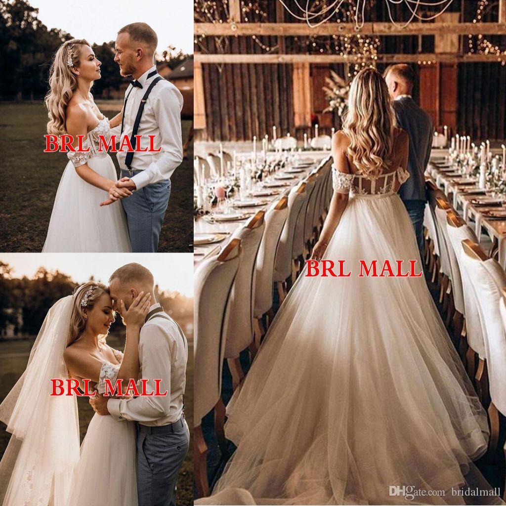 Bohemian 2020 Pérolas Appliqued Tule Vestidos de casamento fora do ombro Boho do casamento de praia Vestidos volta zipper de noiva Vestidos Robes de mariée