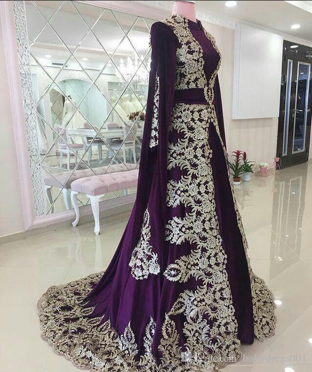 Robes de soirée marocaine de caftan avec appliques dentelle élégante Dubaï Abaya arabe violette robe de soirée Vintage occasion spéciale robe de bal