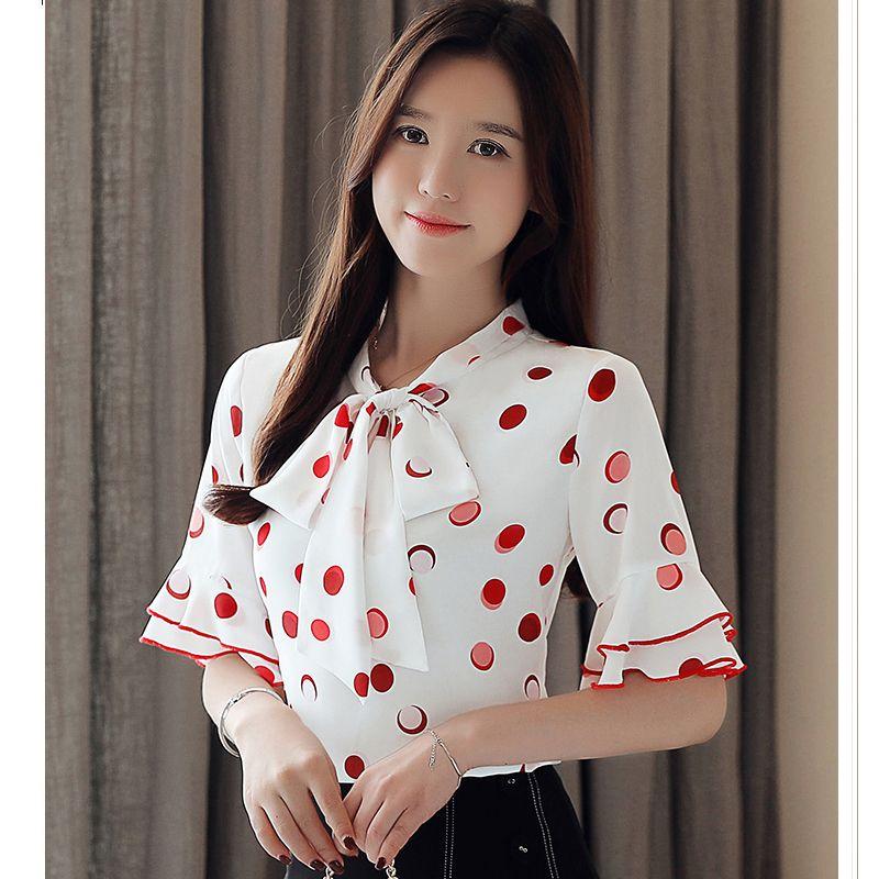 Женщины рубашки лето горошек Женщины Блузы лук Flared рукавом шифон Блузка женская Топы и блузки