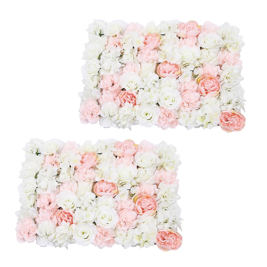Pack of 2 Artificial Silk Rose parede da flor 3D Fundo do casamento decorações do partido - 60x40cm - Light Pink