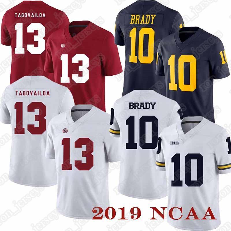NCAA 13 Tua jersey Tagovailoa 10 Tom Brady Jersey Michigan Wolverines Mens 19 vente chaude uniforme