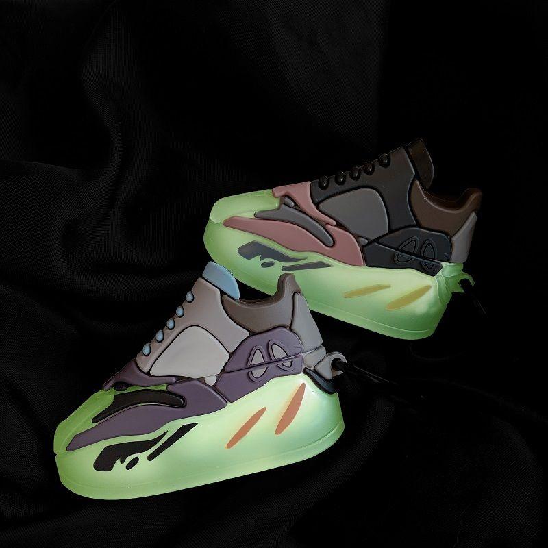 للحصول على حالة Airpods 3D أحذية سيليكون حالة لairpods 1 2 الموالية كم حالة سماعة بلوتوث ليلة الخفيفة الطبعة الغلاف سماعة