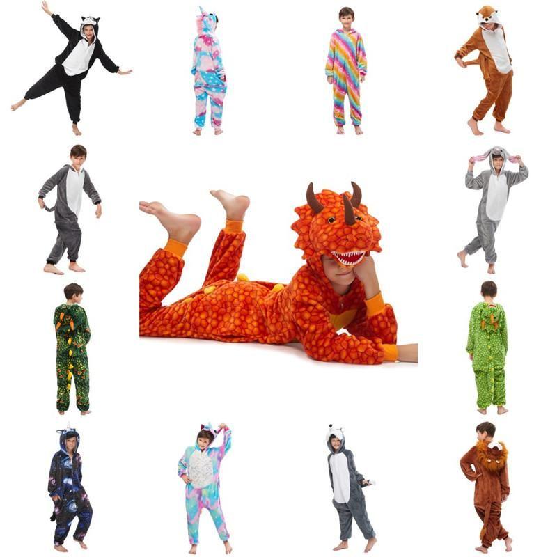Cheap New Arrival Flannel Unicorn Kids Onesie Costume Cartooon Hoodies Robes Animal Pajamas Pyjama Jumpsuit Cosplay Costume MC3026-42
