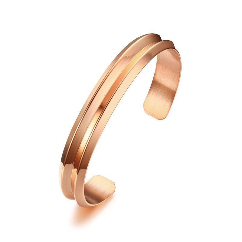Stylish Women's V Shaped Grooved Cuff Bangle in Rose Gold Stainless Steel Bracelet Hair Tie Holder Band Bracelets Jewelry