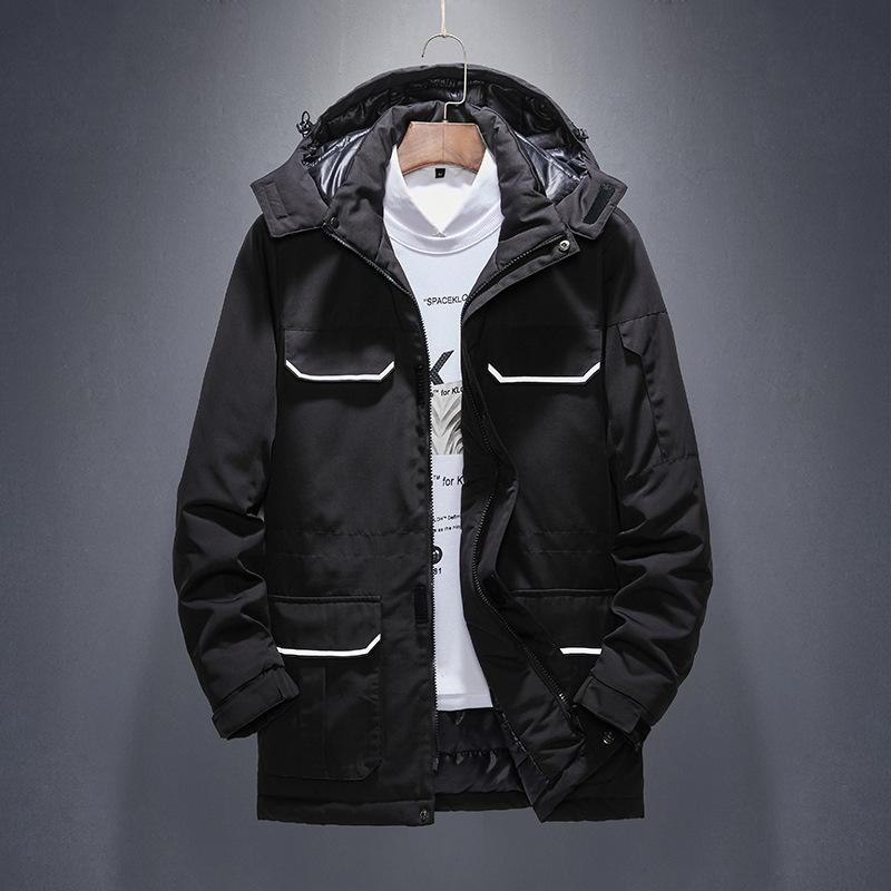 Winter Hooded Thicken Mens Coats Pocket Zipper Solid Color Men Down Warm Casual Loose Man Outerwear