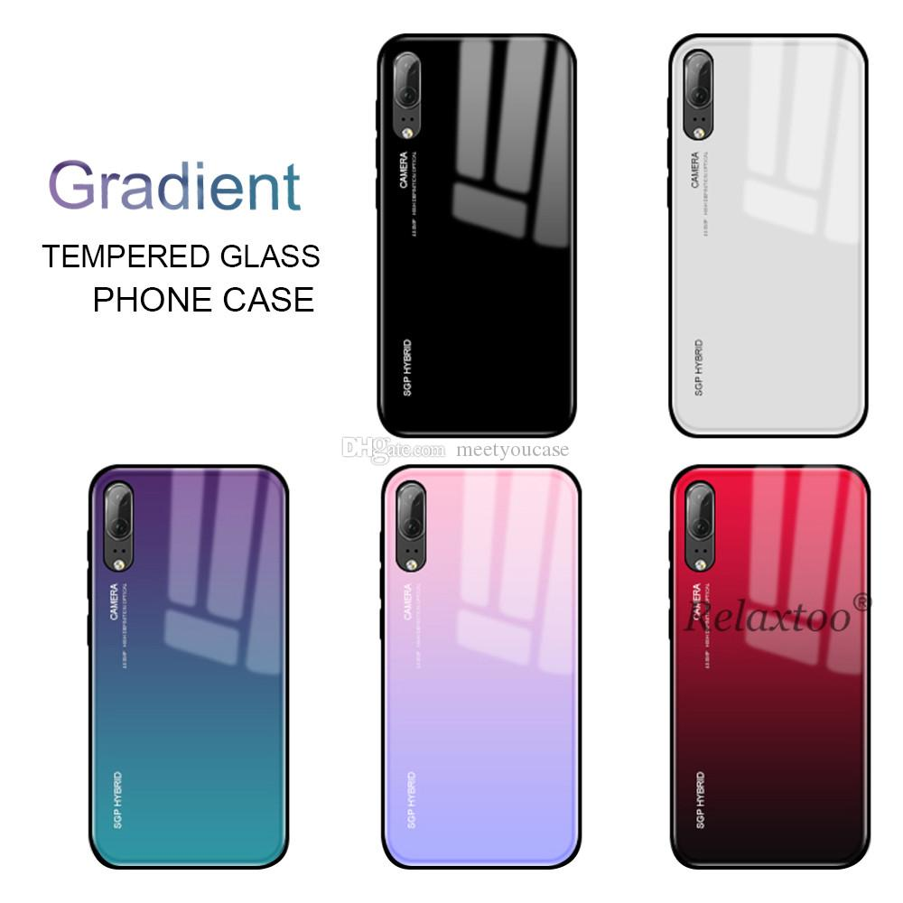 rivenditore all'ingrosso 81fb2 bcd53 For Huawei Mate 20 Lite Case Gradient Tempered Glass Cases For Huawei P20  Lite Pro P Smart Plus Nova 3 3i Protective Shell Cover Custom Leather Cell  ...