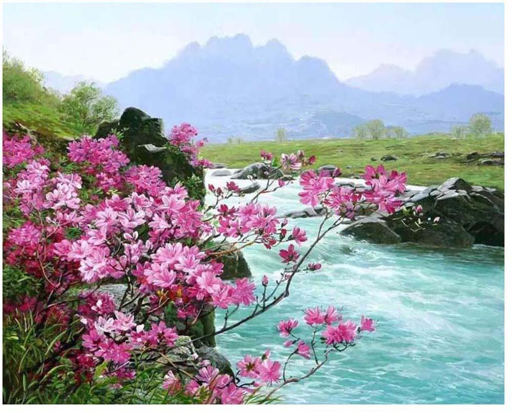 """DIY Painting By Numbers Kits Paint Adult Hand Painted Oil Paint-Pink creek 16""""x20"""""""