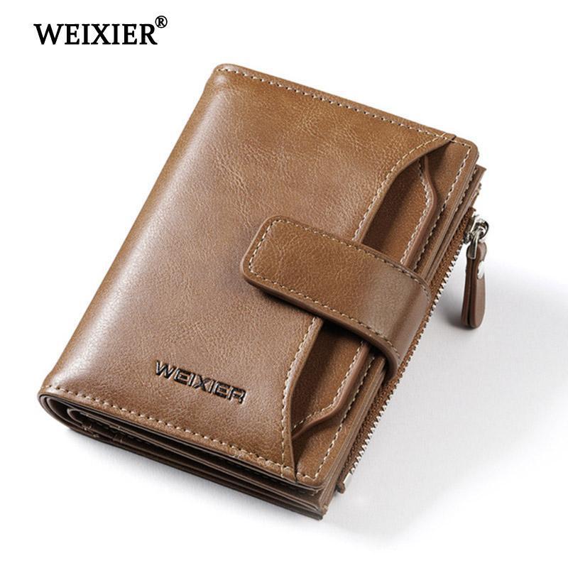New Leather Men Wallet Small Short Purse Zipper Male Zipper Sport Pocket Brown