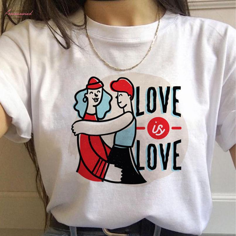 LGBT Gökkuşağı Harajuku Tişörtlü Kadınlar Gay Pride Ullzang 90S Tişörtlü Lezbiyen Grafik Komik Tişört Yeni Moda Üst Tees Kadın yazdır
