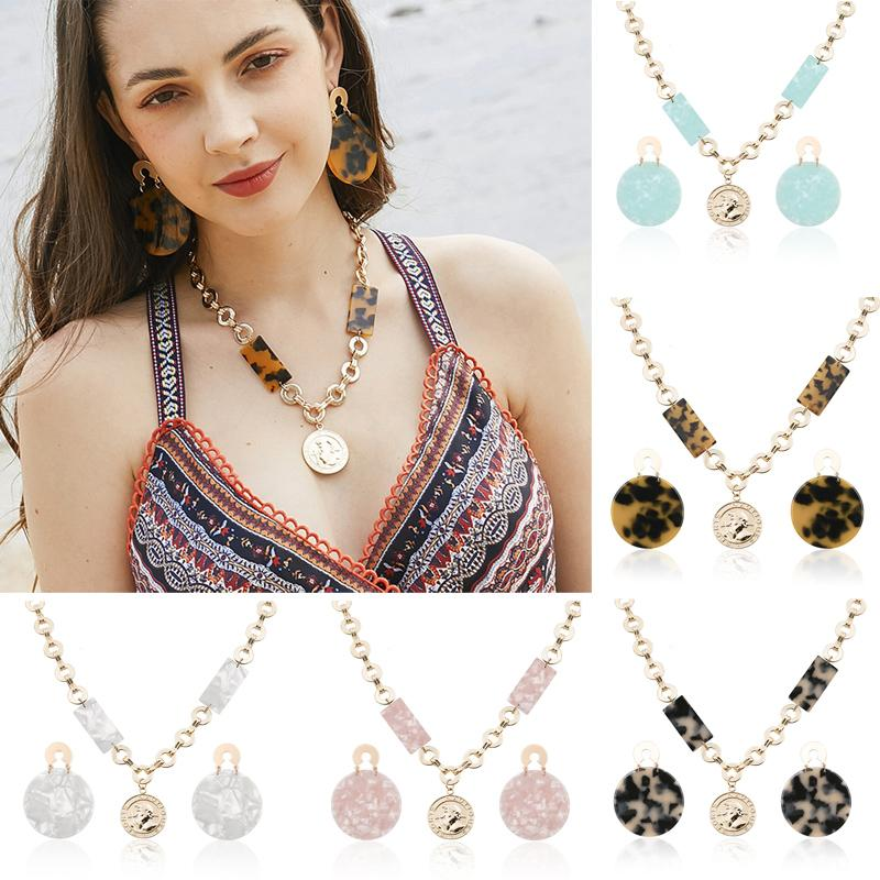 Free DHL 5 Styles Women Fashion Jewelry Acetic Acid Earring Necklace Sets Daily Accessories Trinkets for Lady Birthday Gifts