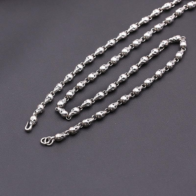 Personalized 925 sterling silver jewelry American hand-made designer antique silver thick skull chain necklaces unique gift for men