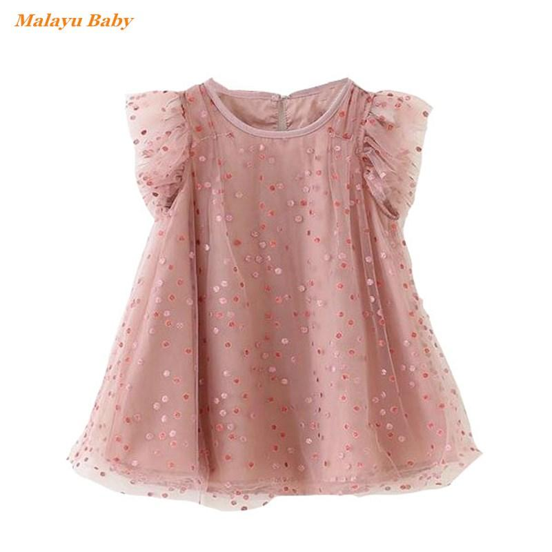 Malayu Baby girl dress 2020 new summer Kids clothing cotton gauze girl princess dress polka dot lotus leaf cute vestidos