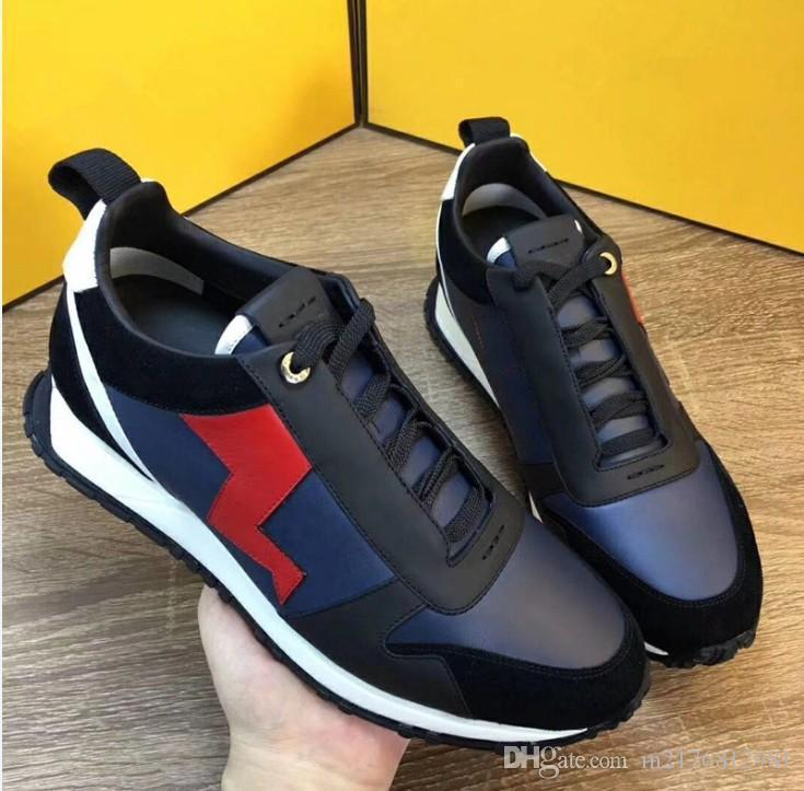 Louis Vuitton LV shoes FUN PELE designer de tênis dom genuíno couro mens mulheres Racer Hot venda Esportes botas casuais New18906