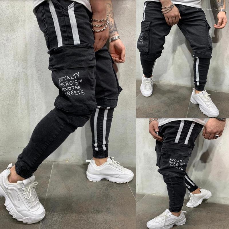 Große Taschen Herren Jeans Frühling und Herbst Mode Bleistift Pantalones Hose Bleistift-Hosen-Schwarz