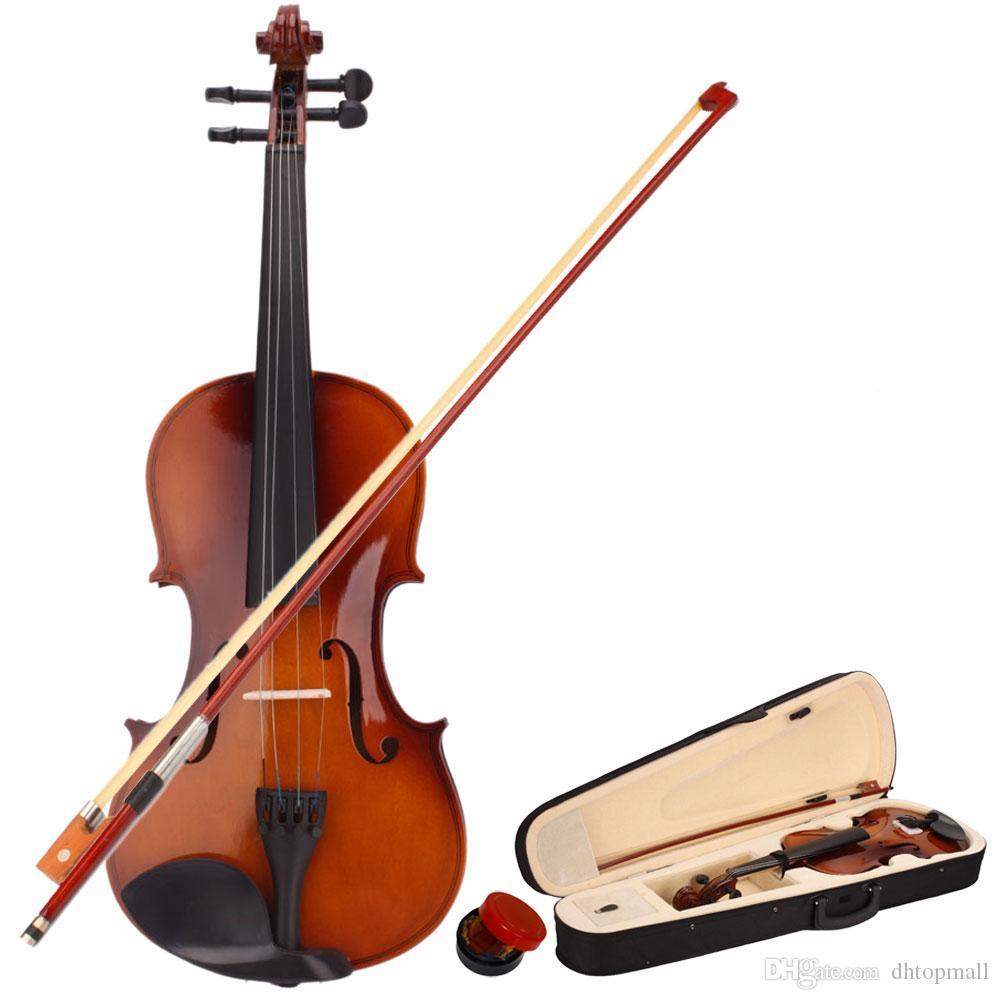 Em estoque! EUA Frete Grátis Novo 4/4 Violin Guitarra de tamanho completo Acústico com Caso Bow Rosin