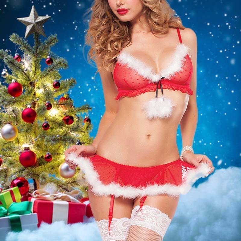 Venda Hot Mulheres penas sexy lingerie cosplay Fardas Papai Noel Voile perspectiva eróticos calcinha pornô Costumes de Natal