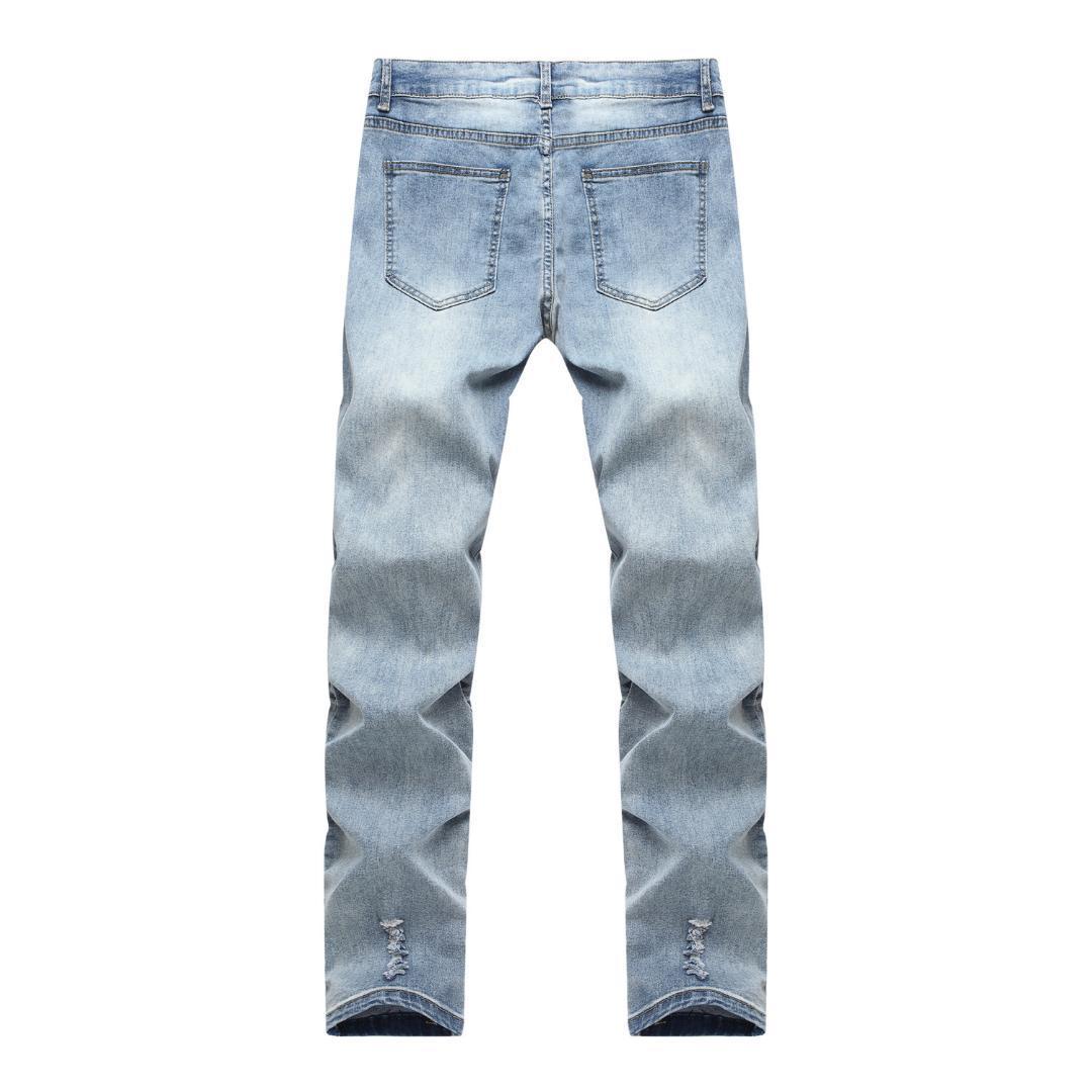 Царапины Мужские джинсы плиссированные брюки джинсовые Motocycle Jean Homme