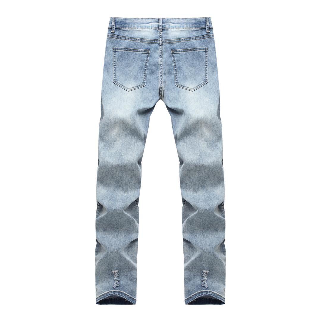 Çizik Erkekler Jeans Pileli Kot Pantolon Motosiklet Jean Homme