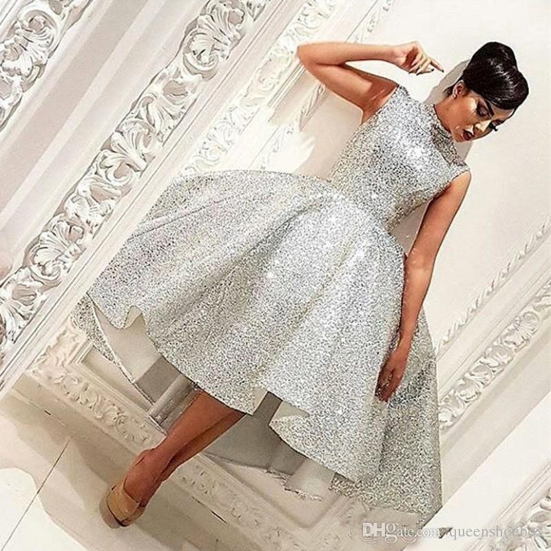 Tee Länge High Low Prom Kleider vestidos de fiesta Silber Pailletten Ballkleid High Neck Sleeveless Formale Party Kleid Abendkleider