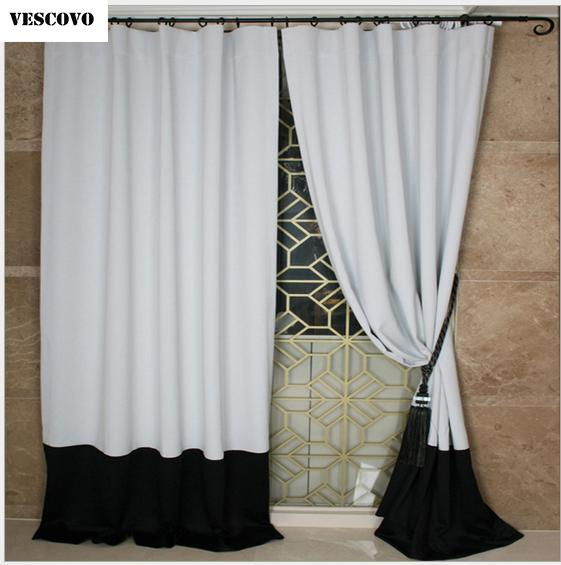 VESCOVO new white black curtains living room blackout curtains for the bedroom