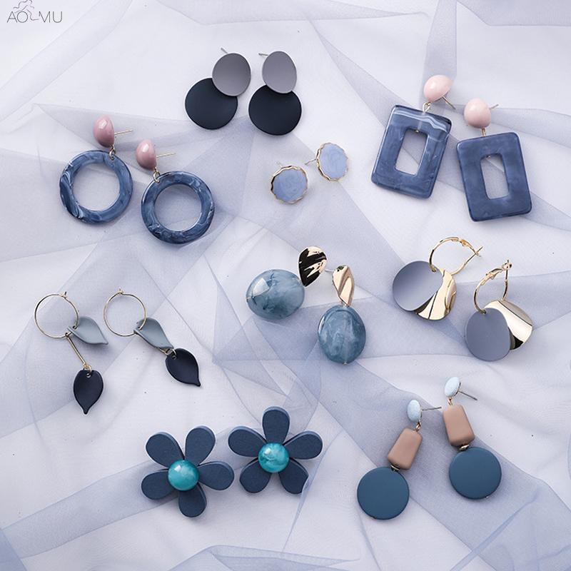 AOMU coréenne Bleu géométrique acrylique irrégulière creux Circle Square Dangle Boucles d'oreilles pour femmes Bijoux Parti Bump Métal Plage