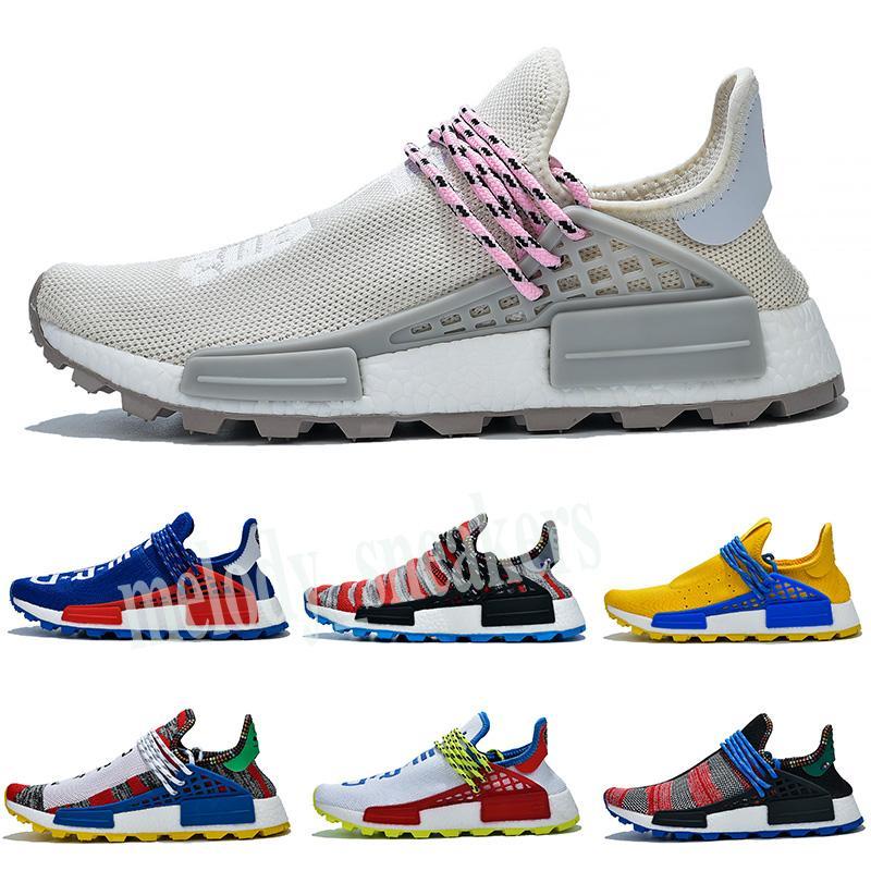 wholesale 2019 pharrell williams human race races tennis men running shoes woman sample yellow Core Black Nerd Black sneakers 36-47 m03