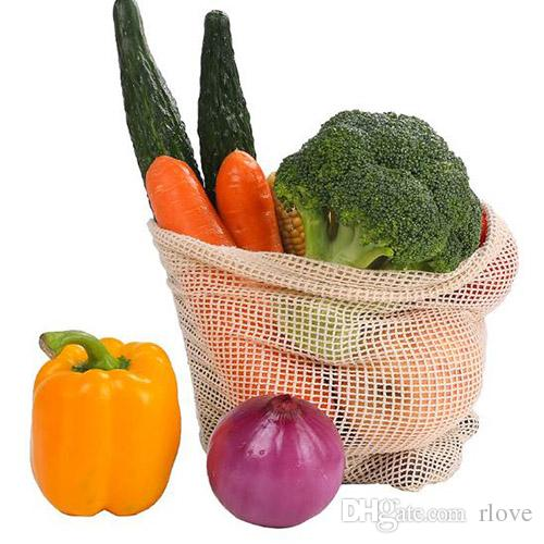 Reusable Storage Bags For Home Kitchen Fruit Vegetable Storage Mesh Bags With Drawstring Washable Organizer Bags Baskets