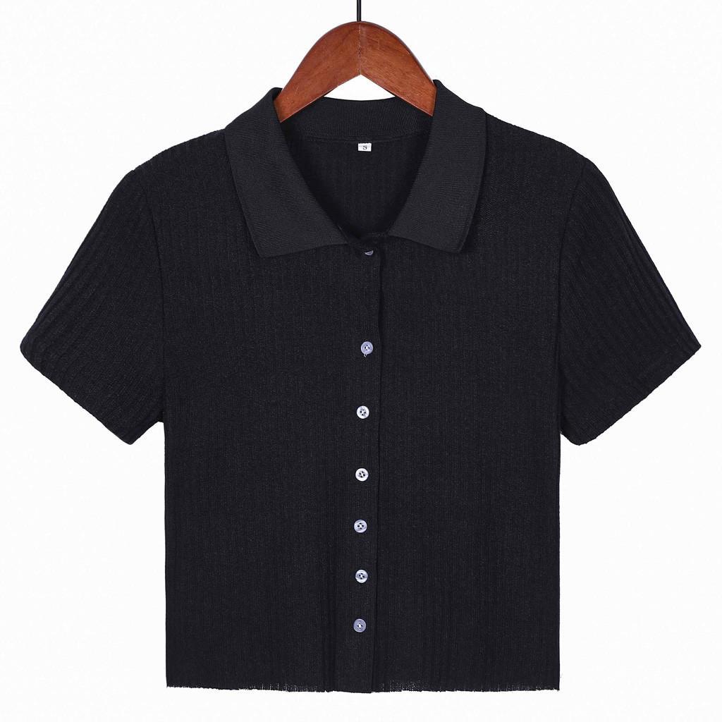 Футболка женщины лето 2019 черный футболка Femme Майка Camiseta Mujer старинные кнопка отложным воротником футболка Женская одежда