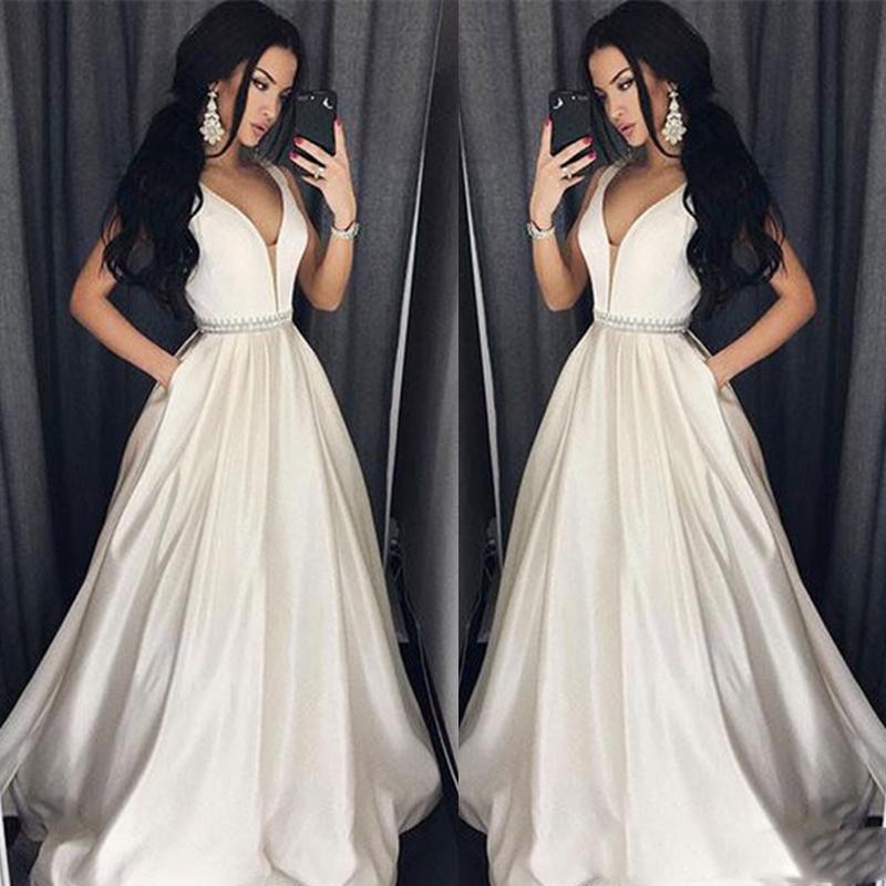 Custom Elegant Plus Size Prom Dresses A-Line Floor-length Long Formal Dress Evening Gown Beads Sash Robe De Soiree
