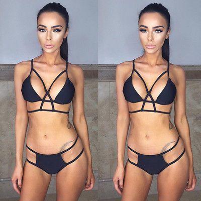 Nouveau Push-up de la femme Soutien-gorge rembourré Bandage Bikini Set de bain été solide Bandage Maillots de bain maillot de bain noir