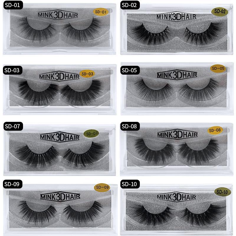 Der heiße Verkauf 3D Mink Wimper-Augen-Make-up Mink falsche Wimpern weiche natürliche starke gefälschte Wimper 3D Eye Lashes Verlängerung Mink Wimpern 20 Arten