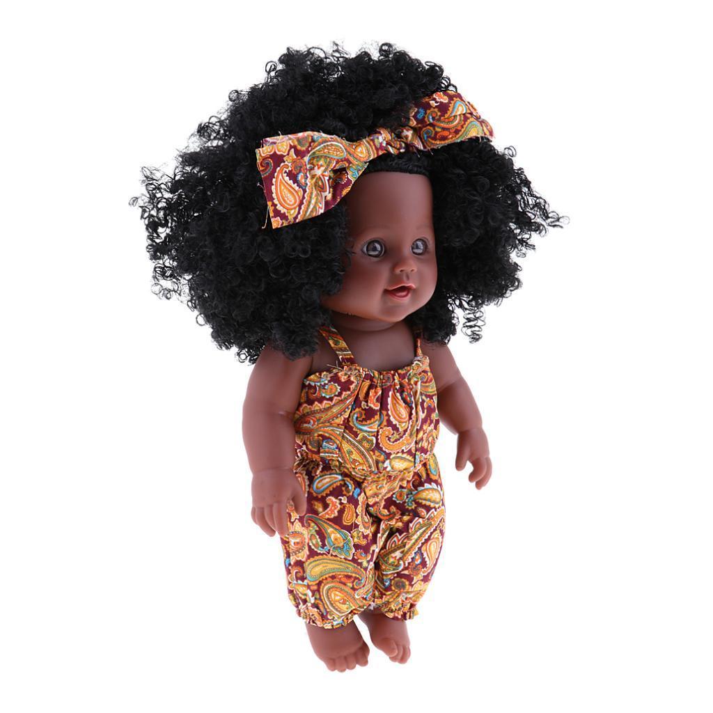 30cm Gerçek Hayat Vinil Baby Doll Afrika Yenidoğan Bebek Kız Bebek Oyuncakları Sarı