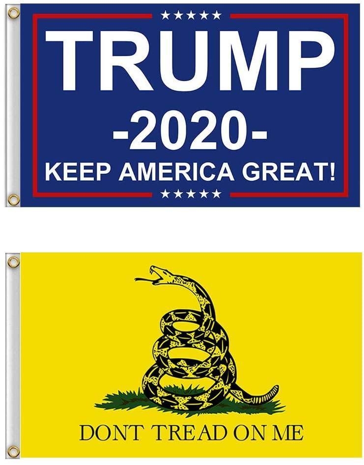 90 * 150 Trump Flag 3 * 5 футов Американского США Trump 2020 Флага и Gadsden Flag Kit для Открытого Закрытого двора дом сад Не наступите на себе
