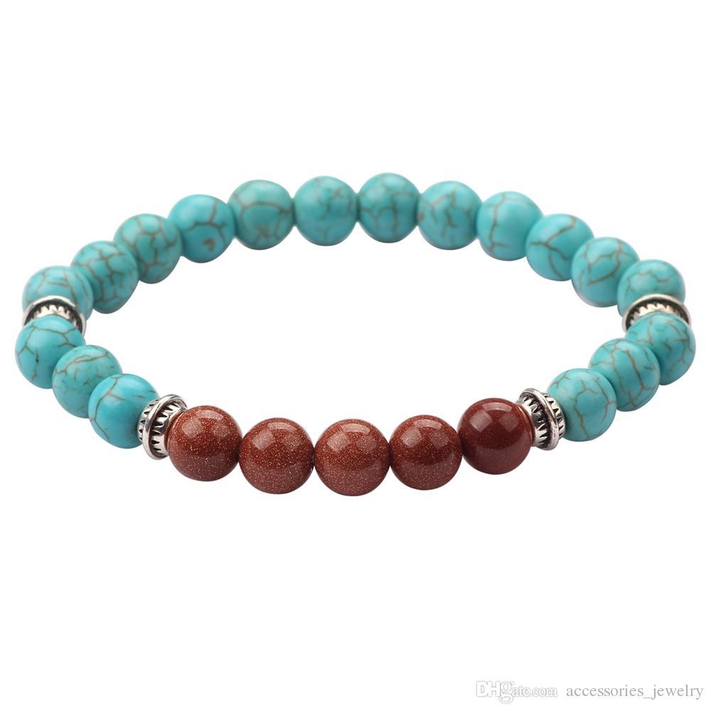 12 PCS Wholesale Free Shipping Fashion Design Men Women Jewelry Handmade Natural Blue Stone Beads Bracelet for Gift