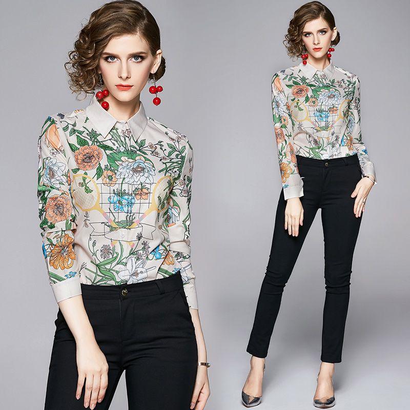 Zarif Çiçek Baskı CollarTops Bluzlar Satış Kadınlar Lüks Tasarımcı Gömlek Düğme Uzun Kollu Artı boyutu OL Bayanlar Pist Casual Büro blusas