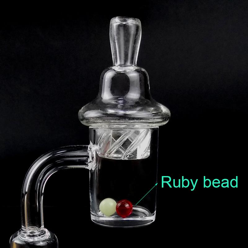 OD 25 millimetri quarzo Banger unghie con Spinning Carb Cap e Ruby Terp Pearl Bead Inserire Donna Uomo 10 millimetri 14 millimetri 18mm 90 gradi per Glass Bong