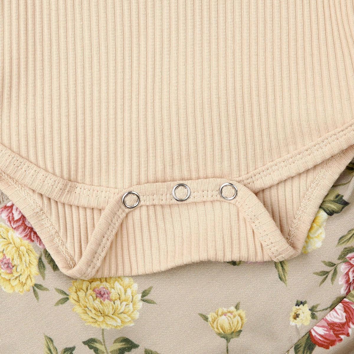 Pudcoco Neonata appena nata vestiti floreali Autunno Inverno 3pcs pantaloni della tuta a maniche lunghe ghette di fascia regolato l'attrezzatura 3-18Months