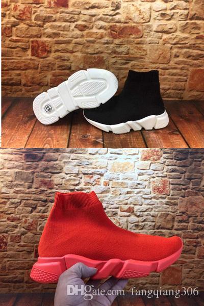 Com a caixa New Kids Crianças velocidade Deslizamento-em preto sapatilha Bebés Meninos Meninas Designer de Moda Triple S Branco Sock Hi Casual sapatas Running Eur24-35