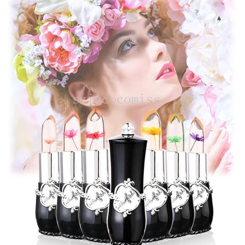 2019 New Colorful Heated Coloured Lipstick with clear dried flower jelly to moisten the mouth red lipstick