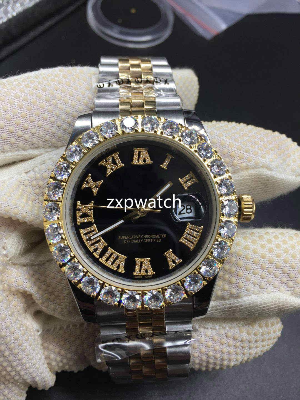 Prong set Diamond Watch 40MM Luxury men Watch Automatic 43MM Men Silver Gold Two Tone Waterproof Stainless Set Diamond CZ