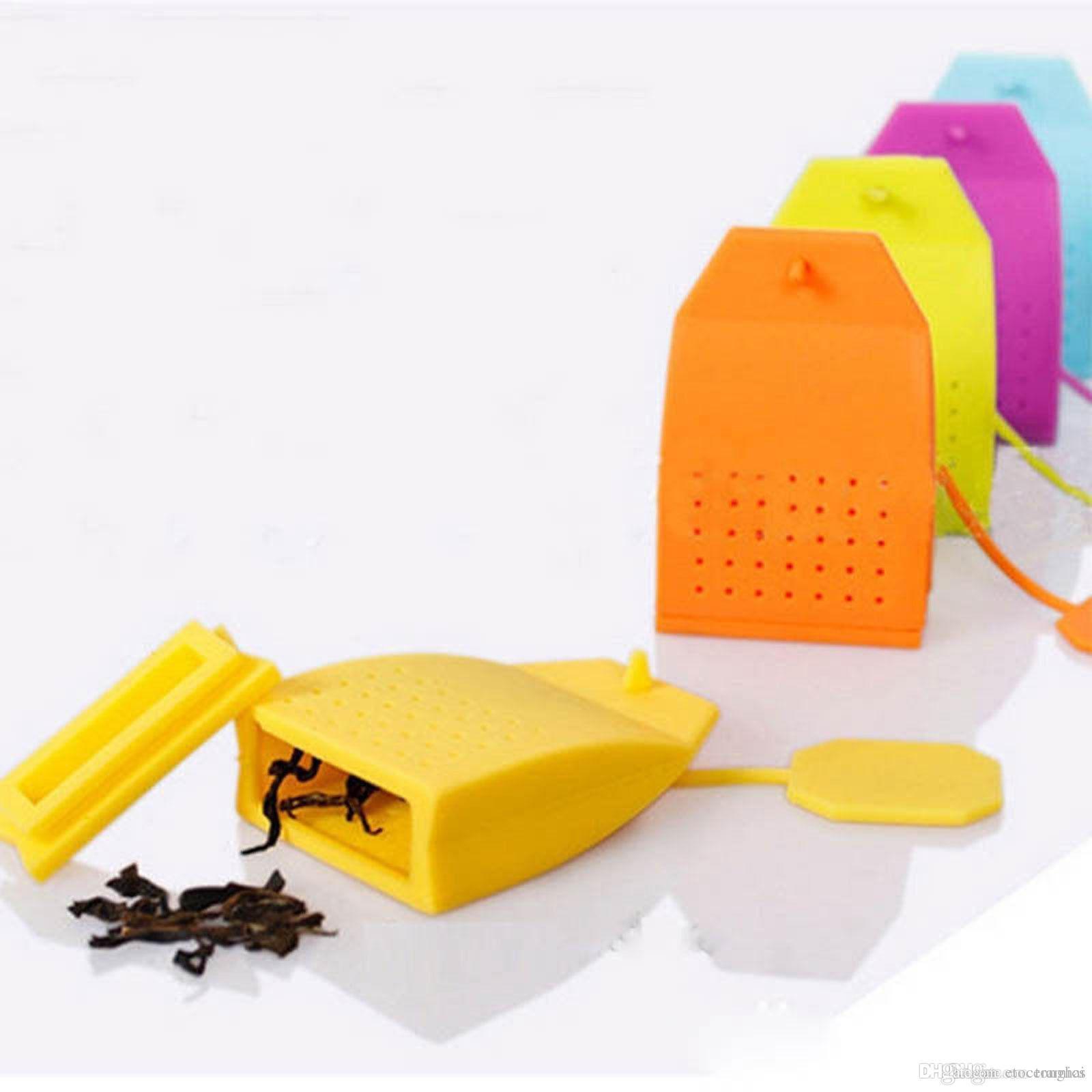 Chá-coador de chá ferramentas de arte Saco de Forma De Silicone Solto Folha De Chá Filtro Coador de Ervas Especiarias Infusor Difusor EEA256