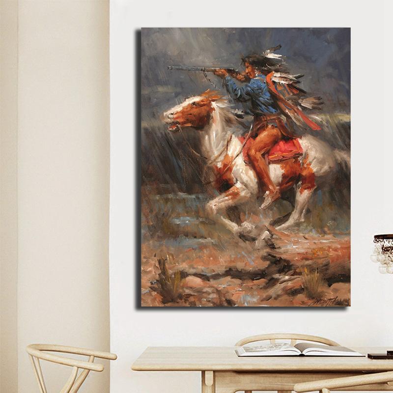 Arte Nativo guerreros HD lienzo Impresión de la pintura de la sala decoración del hogar moderno de la pared pintura al óleo del cartel ilustraciones