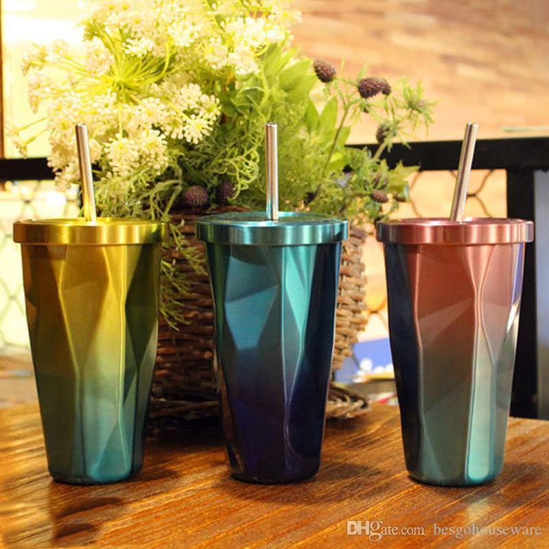 Drinking Coffee Mugs Tumbler Straw Cup 500ML 17OZ Gradient Stainless Steel Mug With Straw Diamond Double Wall Travel Cup With Lid BC BH1127