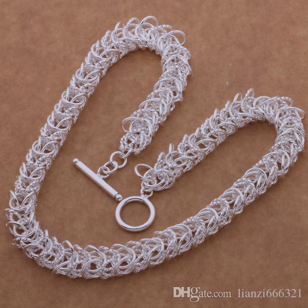 ترويج بيع 925 الفضة الرجال كبير لسلاسل حصيرة قلادة عيد الميلاد الأزياء 925 الفضة لسلاسل قلادة المجوهرات شحن مجاني 1373