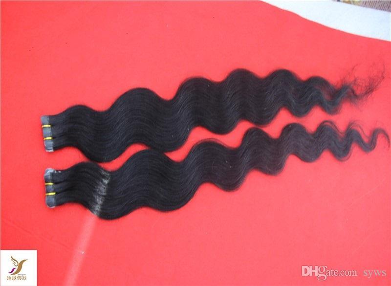 Tape em Remy Extensões de cabelo 100% cabelo humano extensões de onda do corpo Pele trama extensões do cabelo 100g