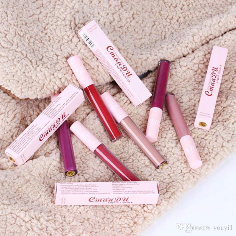 CmaaDu Marca atractivo Batom Mate Liquid Lipstick Loong duración impermeable Pigmento desnuda terciopelo brillo de labios Maquillaje Belleza roja Labial Líquido