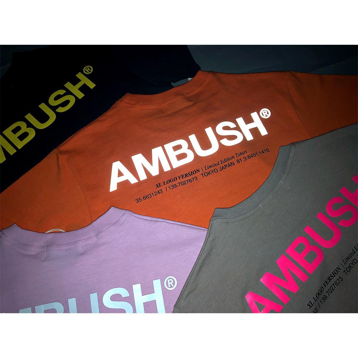 modelos básicos 19SS diseñador de moda que basa la Emboscada de manga corta de color naranja camiseta de la camiseta LOGO INS reflexivo ultra fuego