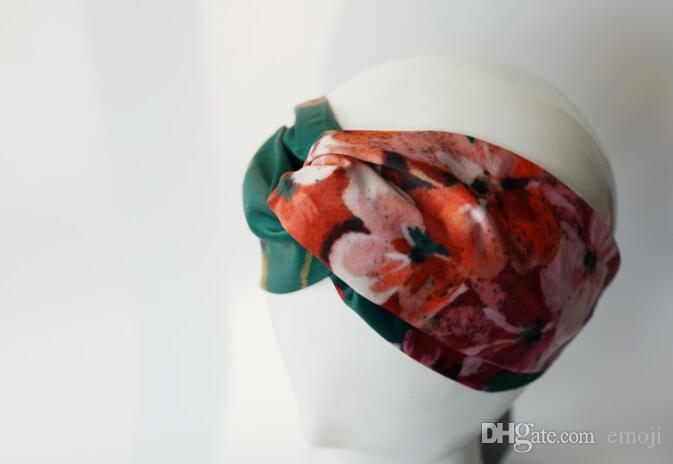 Designer 100% Silk Cross Fascia elastica per capelli Sciarpa per donna Ragazza Retro Floral Bird Bird Flower Turban Headwraps Regali
