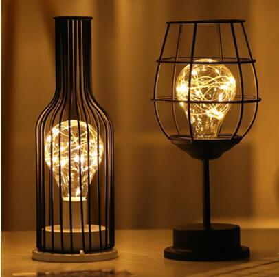 크리 에이 티브 휴일 레트로 철 예술 미니멀 빈 테이블 램프 독서 램프 밤 빛 침실 데스크 조명 홈 장식